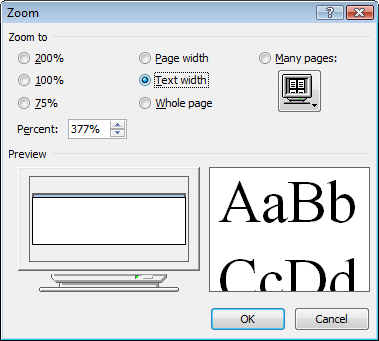 Word 2007 Zoom Dialog